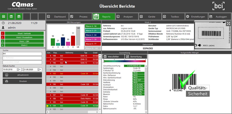 CQmas Software-Oberflaeche Reports