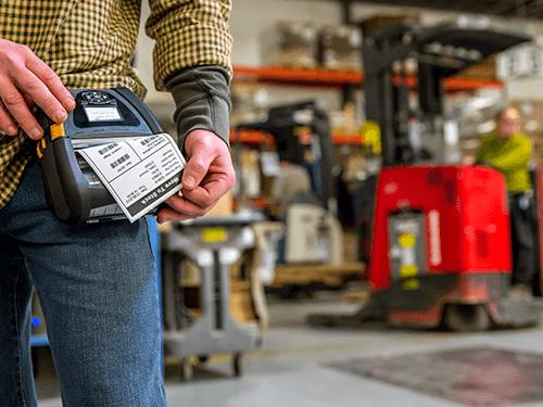 Zebra Mobiler Drucker QLN Serie Lagereinsatz Druck