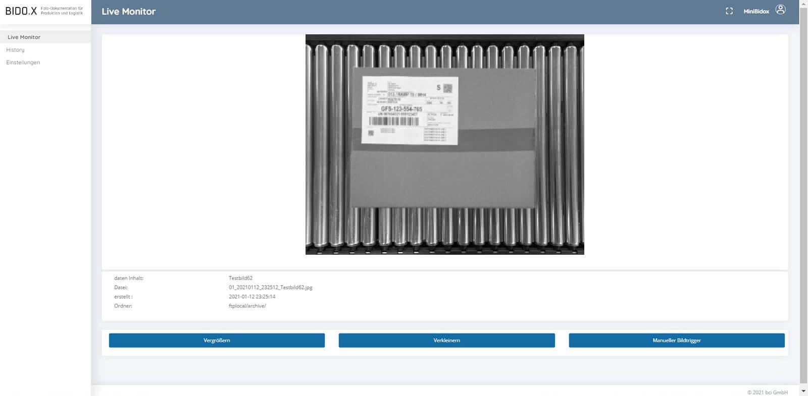 BIDO.X Screenshot der Anwendung - Live Monitor V1