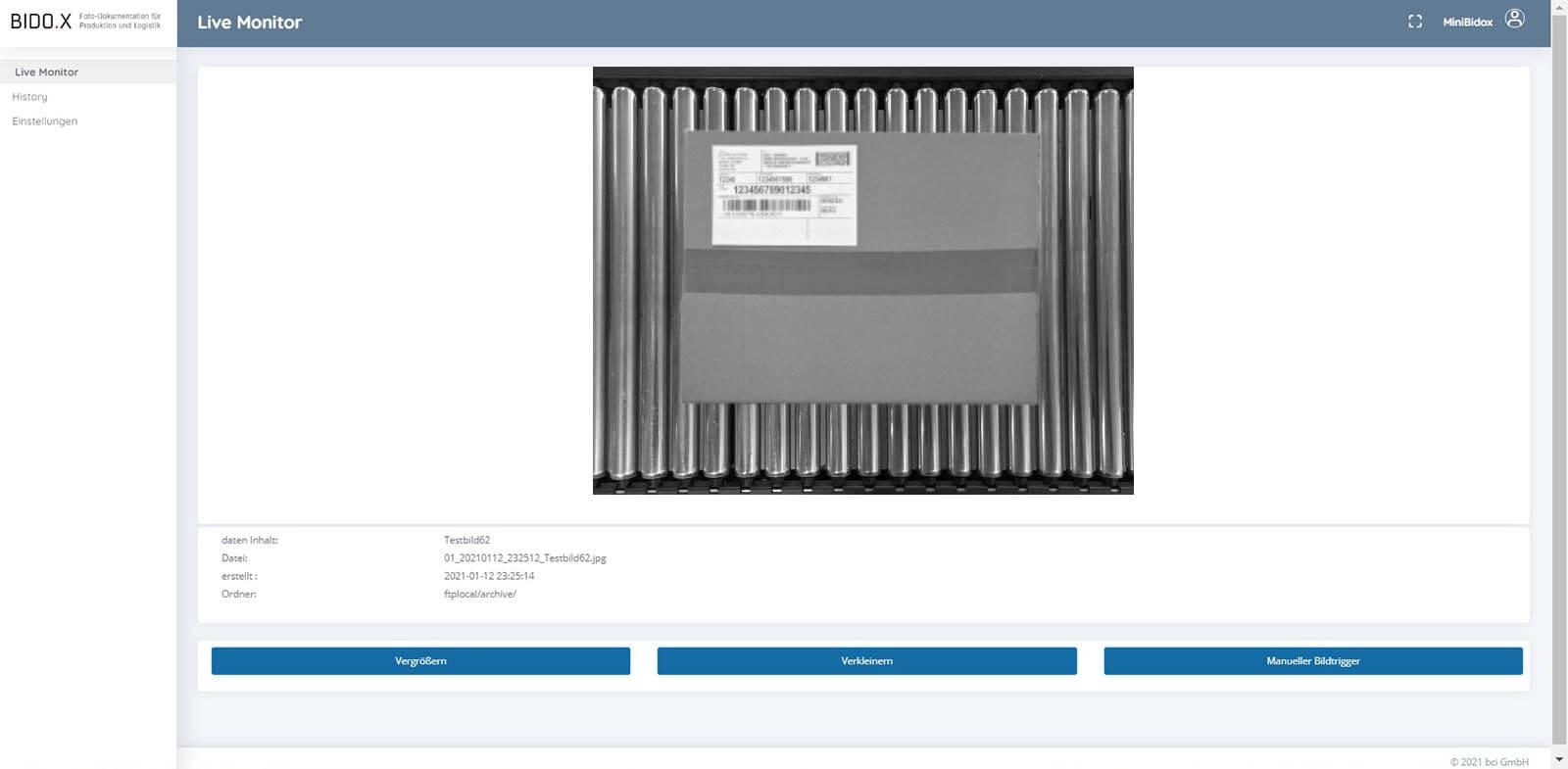 BIDO.X Screenshot der Anwendung - Live Monitor V2