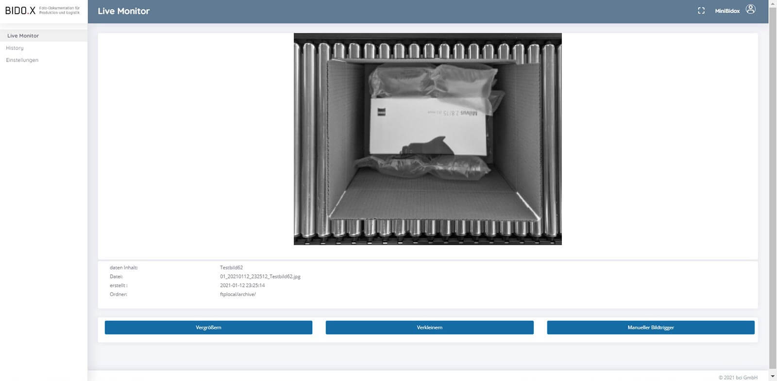 BIDO.X Screenshot der Anwendung - Live Monitor V6