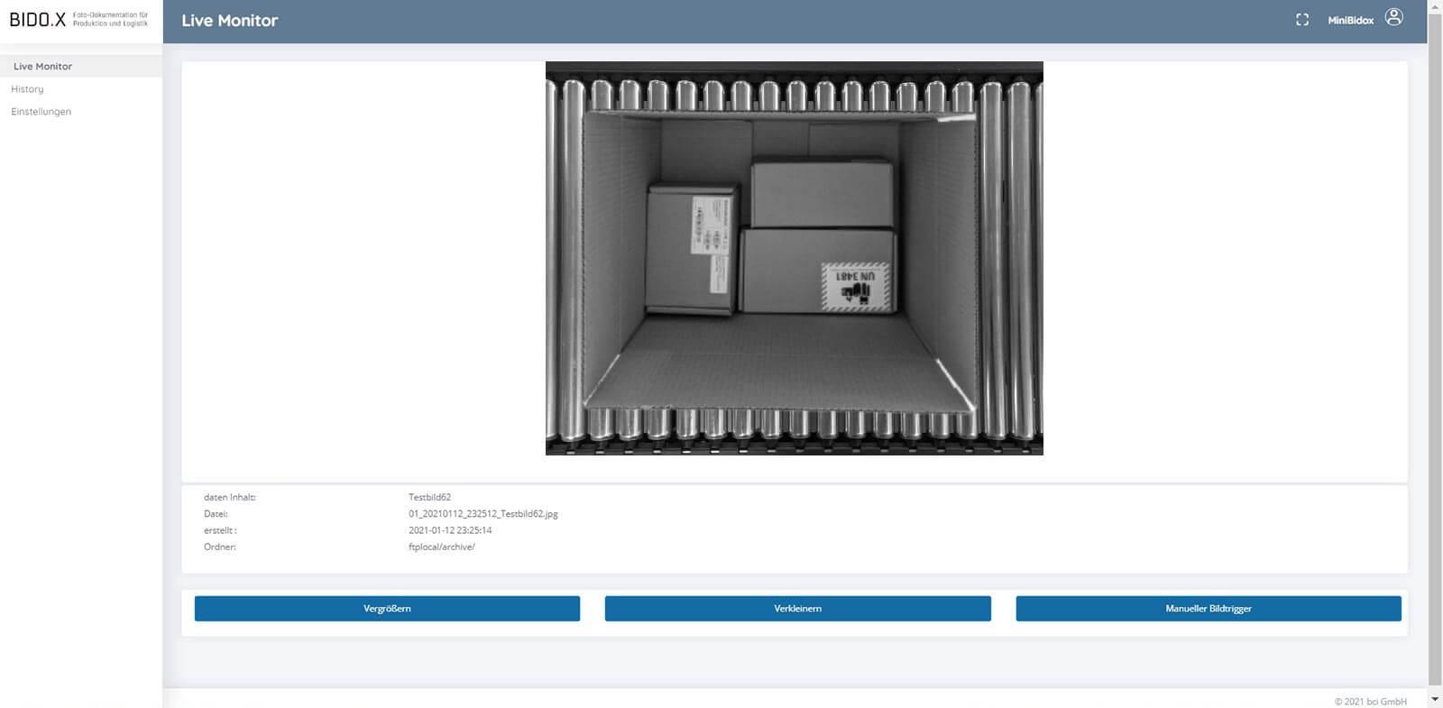 BIDO.X Screenshot der Anwendung - Live Monitor V7