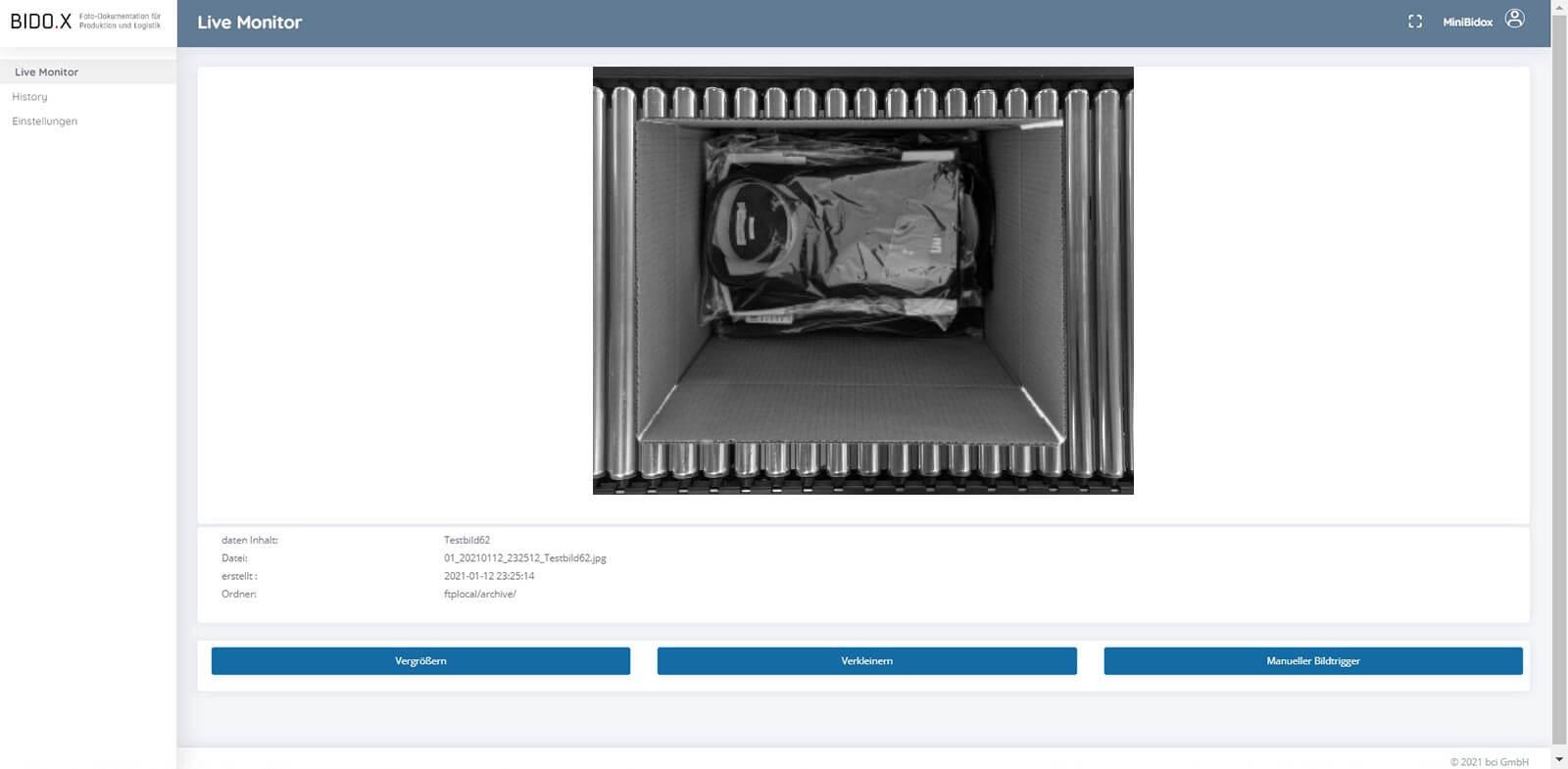 BIDO.X Screenshot der Anwendung - Live Monitor V8