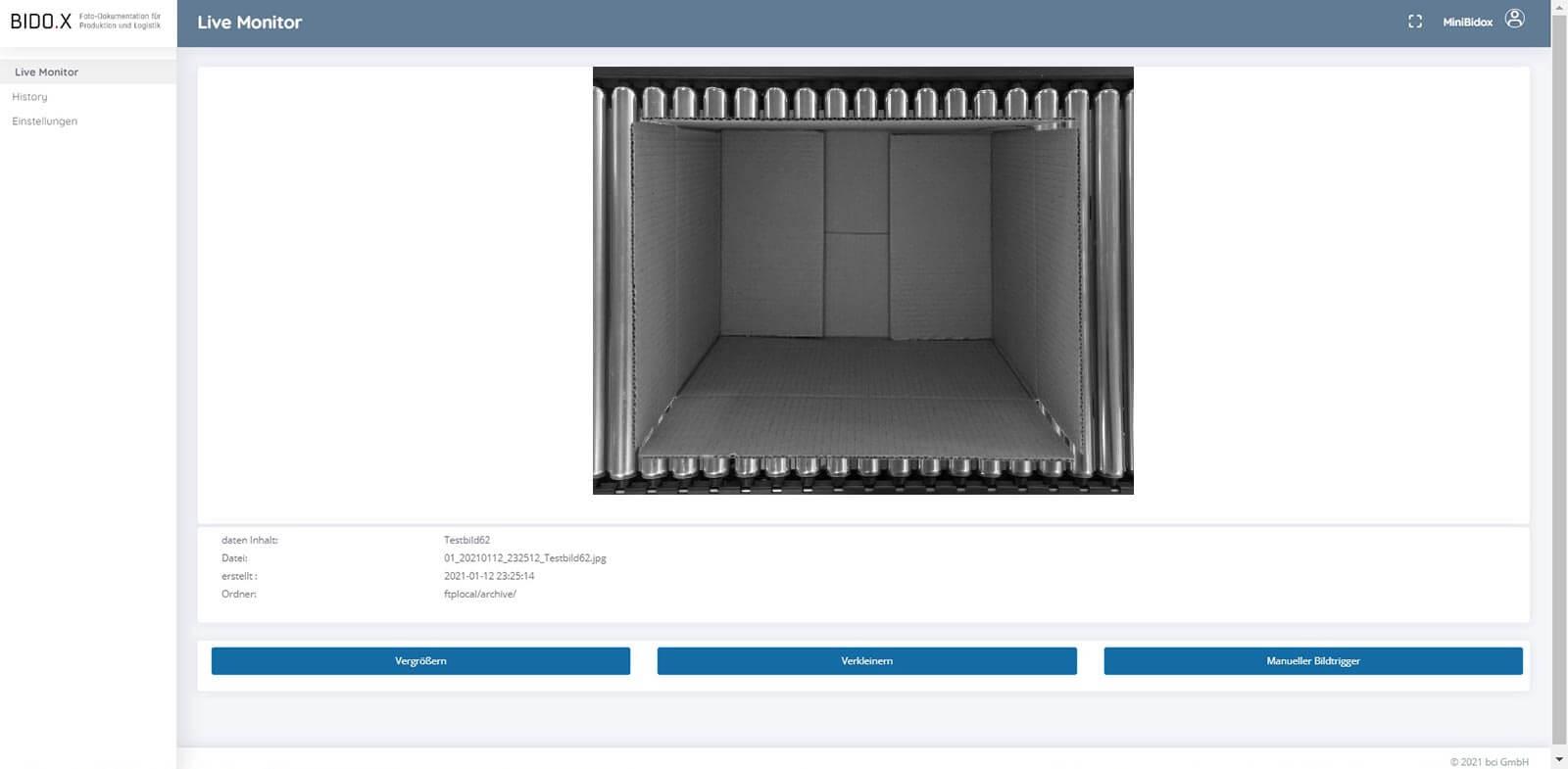 BIDO.X Screenshot der Anwendung - Live Monitor V9